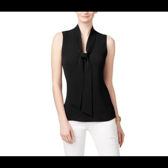 Michael Kors Tops - Michael Kors Black Tie Neck Sleeveless Tank Top